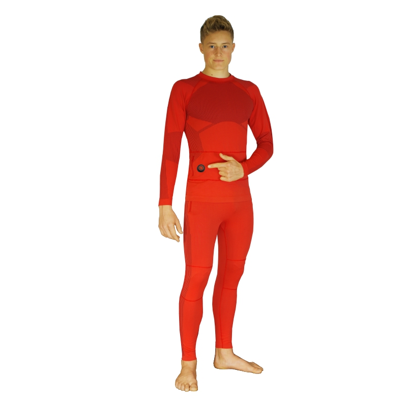 Set of heated thermoactive underwear, a long-sleeved shirt and trousers